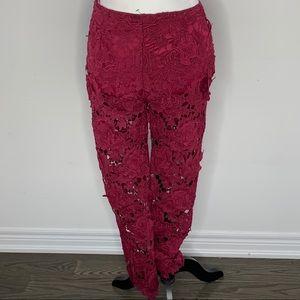 Plum lace style pants